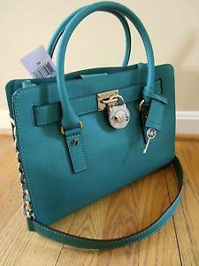Michael Kors Hamilton East West Saffiano Satchel Bag AQUA Purse Handbag EW NWT