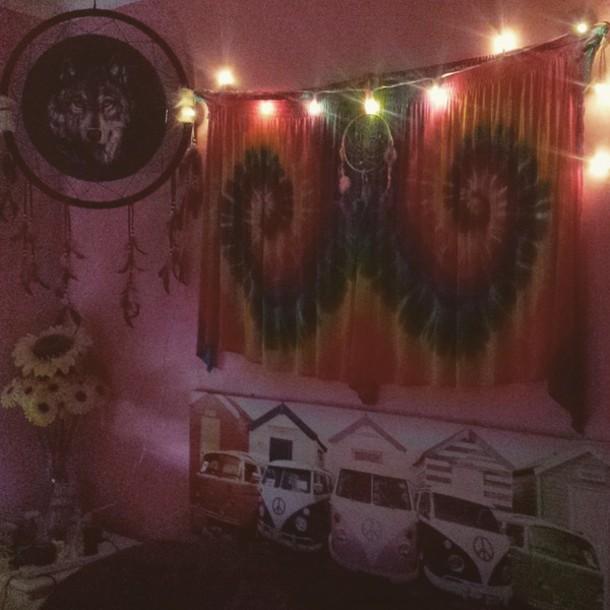 hippie indie tie dye sunflower lights bedroom bliss kombivan tapestry home decor