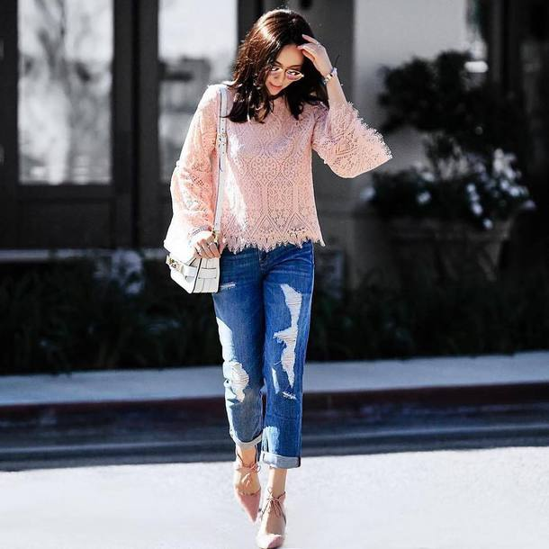 ca5d7ee6404e1 blouse tumblr pink blouse lace top denim jeans blue jeans ripped jeans high  heels heels pumps