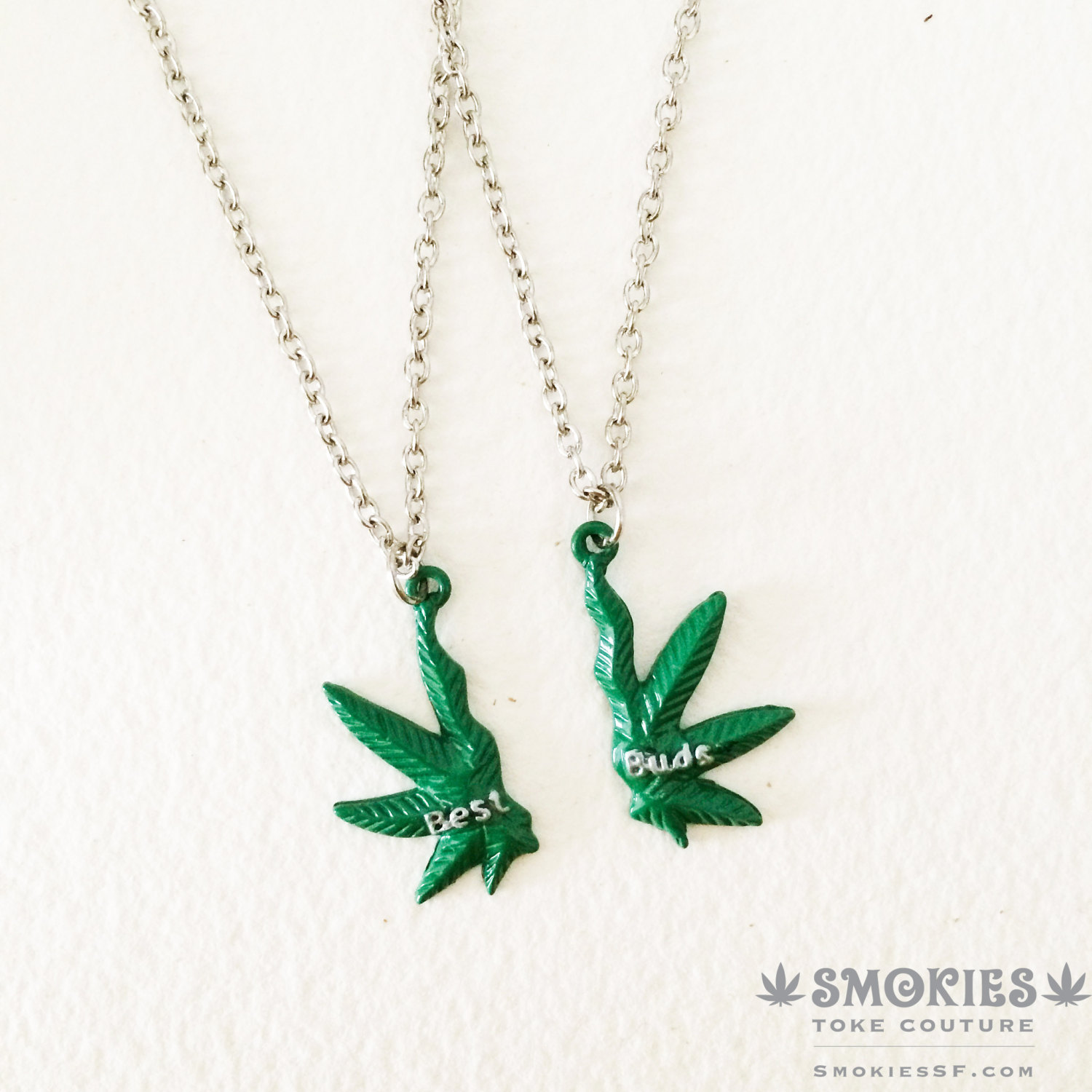 BEST BUDS Marijuana Necklace, marijuana jewelry , best friends, BFF, marijuana gift leaf 420 weed cannabis hemp necklace cannabis