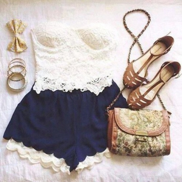 cuspidal shoes pants shorts blouse belt white jeans top dark blue lace trim shorts weheartit hair accessory jewels tank top white tank top blue shorts bag