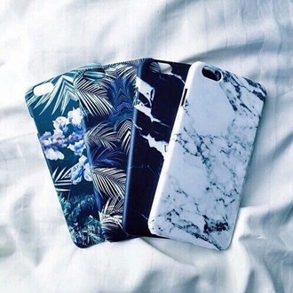 phone cover marble ocean palms iphone cover cover iphone 5s iphone 6 plus etc white marble black white dark blue floral leaves cute cover idk