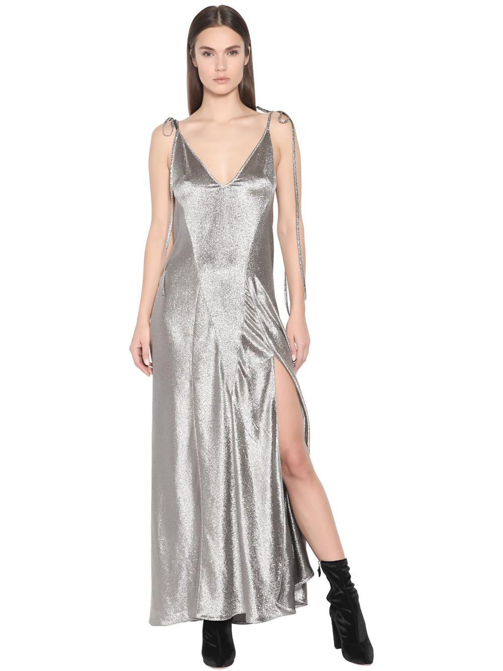 Attico Velvet Wrap Dress In Teal Wheretoget