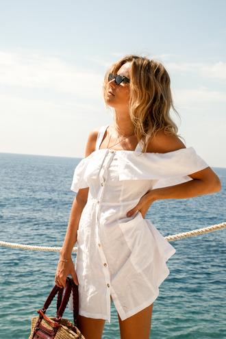 dress sunglasses tumblr mini dress white dress button up button up dress summer summer dress off the shoulder off the shoulder dress