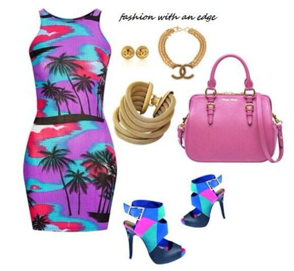 blue dress black classy fashion style sexy pink summer pretty shoes bag colorful purple chanel jewelry chain earrings necklace bracelet minidress cutout dress summer dress party bright outfit