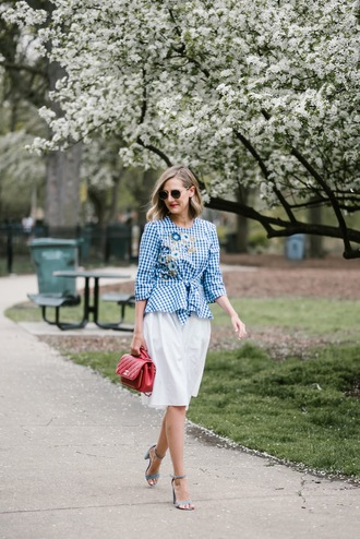 see anna jane blogger top skirt shoes bag sunglasses blue top white skirt red bag chanel bag spring outfits sandals high heel sandals