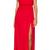 Red Deep V Neck Split Maxi Dress -SheIn(Sheinside)