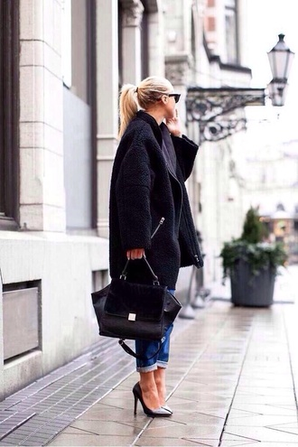 coat black winter outfits textured coat textured jacket indie hipster shearling sheep