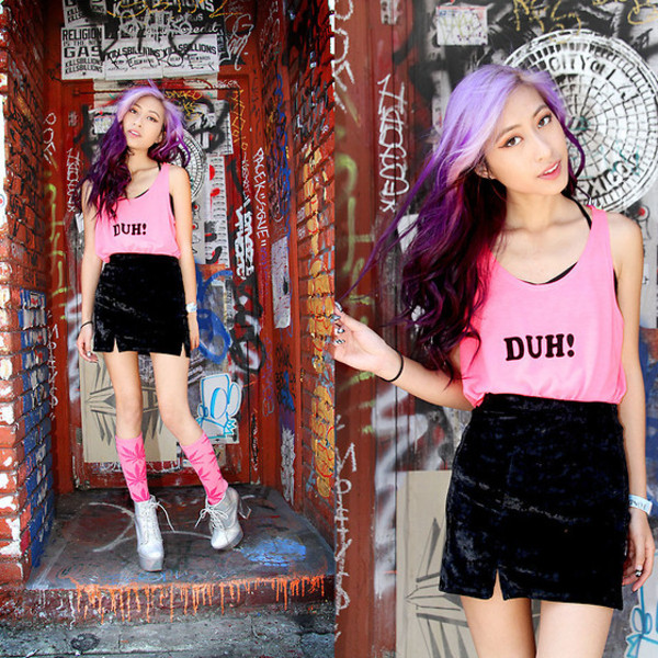 blouse high waisted skirt black skirt tank top knee high socks marijuana pink