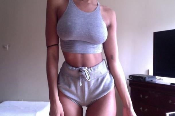 shirt shorts tank top top pajamas grey short High waisted shorts instagram crop tops grey top short top sweats gray shorts nike shorts