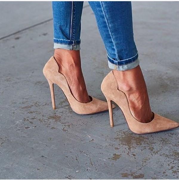 Shoes: heels, high heels, nude, beige, denim, jeans, classy, sexy ...