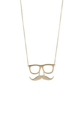 Collier avec pendentif moustache et lunettes