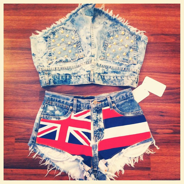 distressed denim shorts hawaiian flag hawaiian flag denim shorts ripped denim handmade shorts handmade handcrafted