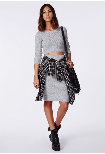 Madelynn knitted midi pencil skirt grey