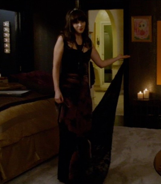 zooey deschanel brown dress velvet dress new girl dress