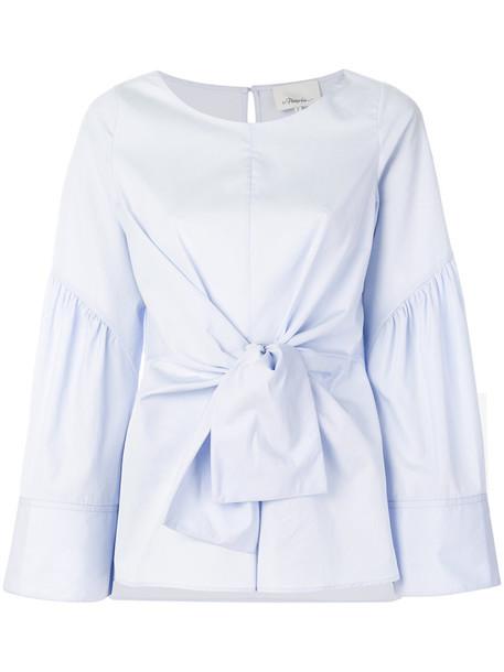 blouse long women cotton blue top