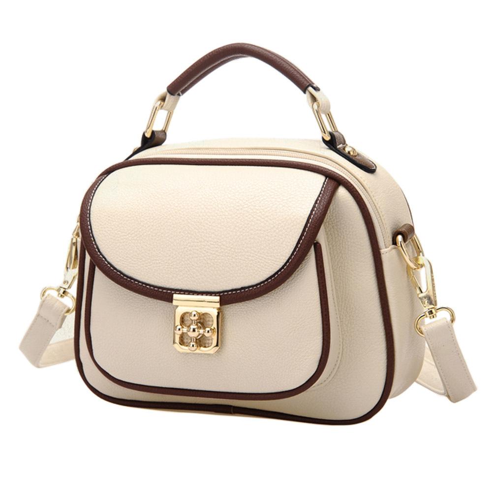 [grxjy5204198]Vintage Contrast Color Plum Lock Handbag Shoulder Bag Cross Body Bag