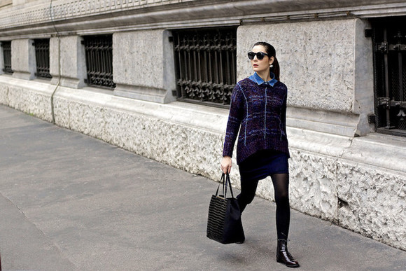sunglasses denim shirt jewels bag blogger onto my wardrobe jumper