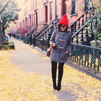 blogger keiko lynn duffle coat pom pom beanie
