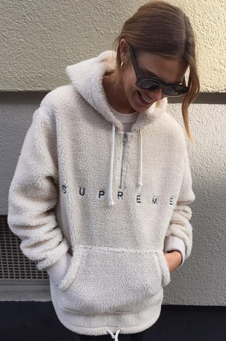 sweater sweatshirt hoodie fluffy fur white fur 90s style supreme white comfy clothes