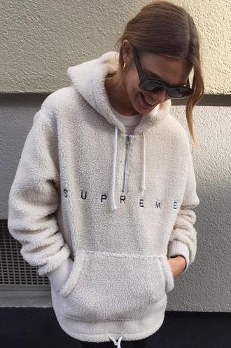 sweater sweatshirt hoodie fluffy fur white fur 90s style