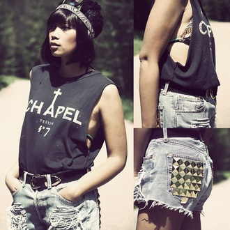 shorts chanel t-shirt chanel studded shorts studs ripped shorts