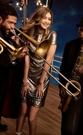 dress,gold,gigi hadid,sequins,gold dress,tommy hilfiger,wavy hair,holiday dress