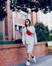 shoes,new balance,sneakers,grey sneakers,dress,midi dress,grey dress,fanny pack,sunglasses