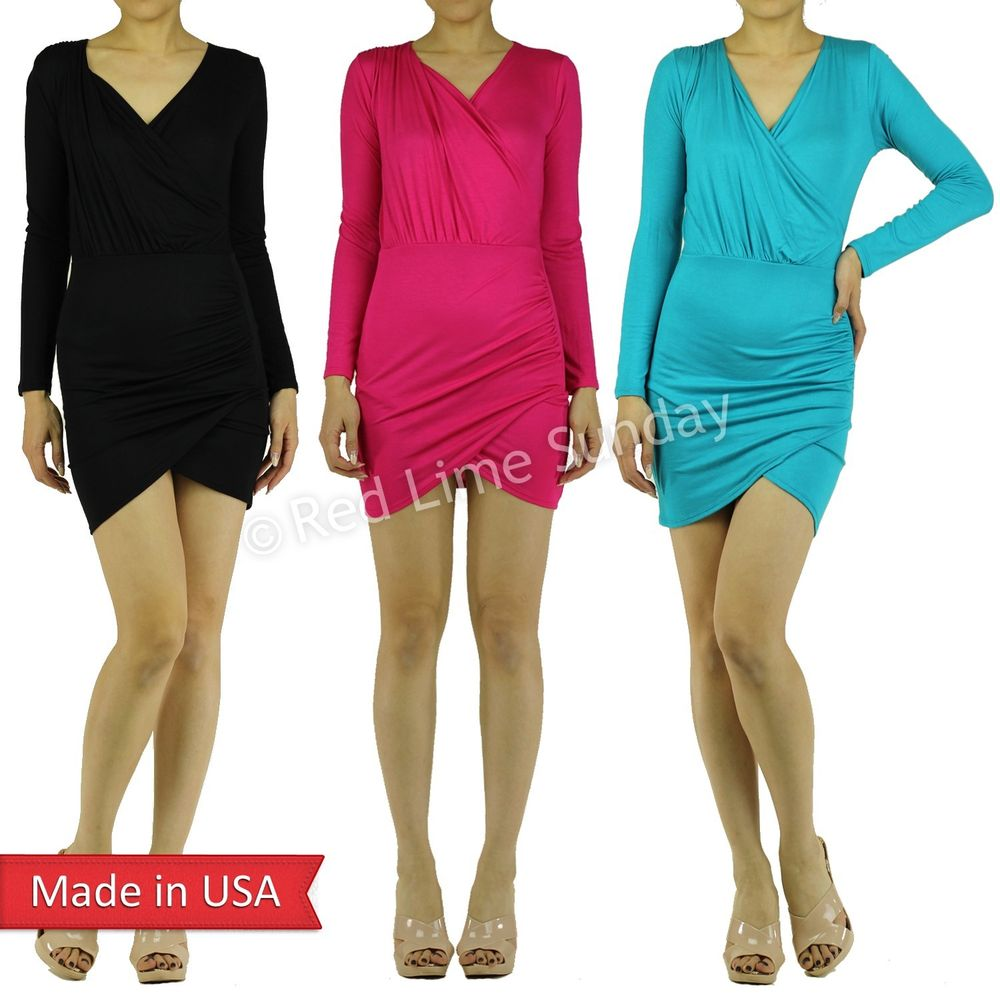 New Color Bodycon Wrap Black Fuchsia Turquoise Lightweight Casual Mini Dress USA