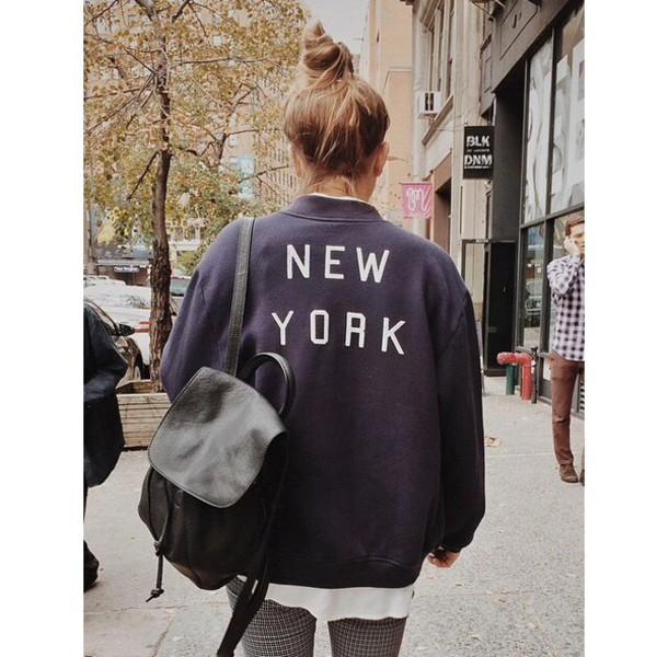 Brandy Melville New York City Sweatshirt Navy Bag Cardigan
