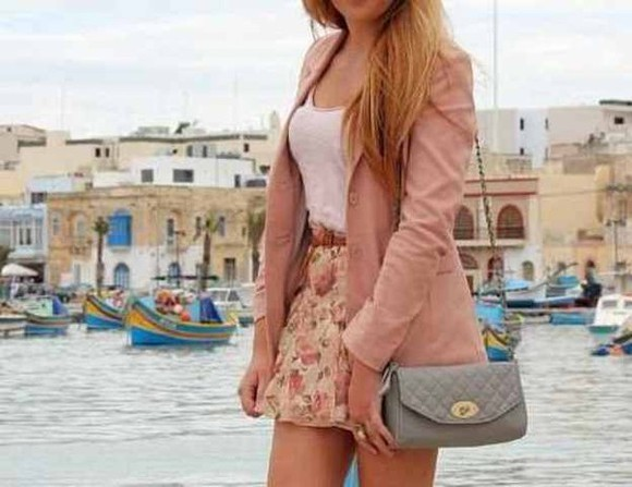 blouse white blouse cute outfit girly skirt floral pastel pink jacket crossbodybag bag
