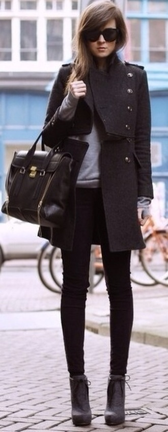 coat structured jacket military style black grey jumper black tote bag shoes jeans sweater