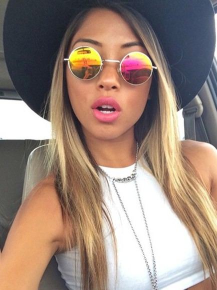 round sunglasses sunglasses hippie boho vintage mirror lenses retro grunge cute festival blogger style color