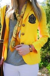 jacket,yellow,preppy,prep,classy,blazer,scarf