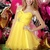 Hot Selling Sweetheart Bowknot Tiered Yellow Chiffon Homecoming Dresses With Floral Rhinestones - Happidress
