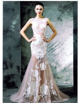 dress,mermaid,white,flowers,long,gown,sheer,long dress,white gown,white dress,floral dress,designer dress,couture dress