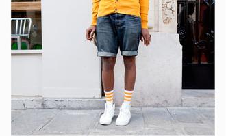 shorts denim shorts streetstyle socks yellow fashion week 2015