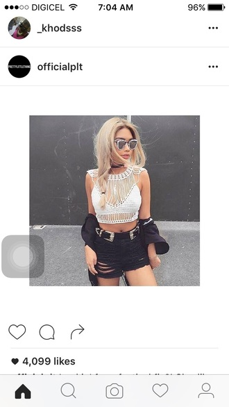 blouse white crop tops crop tops black shorts shorts sunglasses