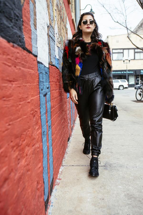 chicityfashion blogger round sunglasses fur coat faux fur coat leather pants