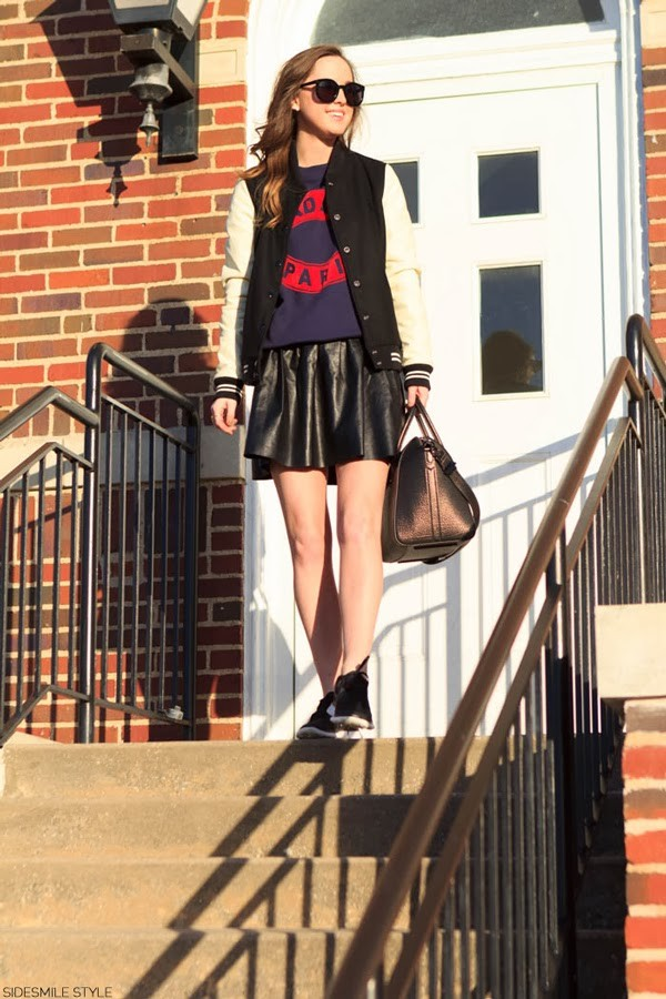 side smile style sweater jacket skirt shoes bag jewels