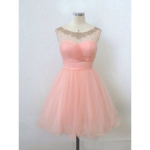 Cute Transparent Pearl Pink Ball Gown Round Neckline Mini Prom/Graduation/ Homecoming Dress on Luulla