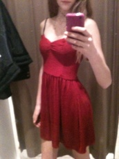 dress,red,pretty,cocktail,short,prom dress,strapless