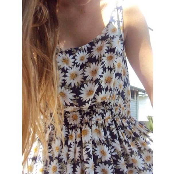 Dress: cute dress- daisy dress- daisy- cute outfits- summer ...
