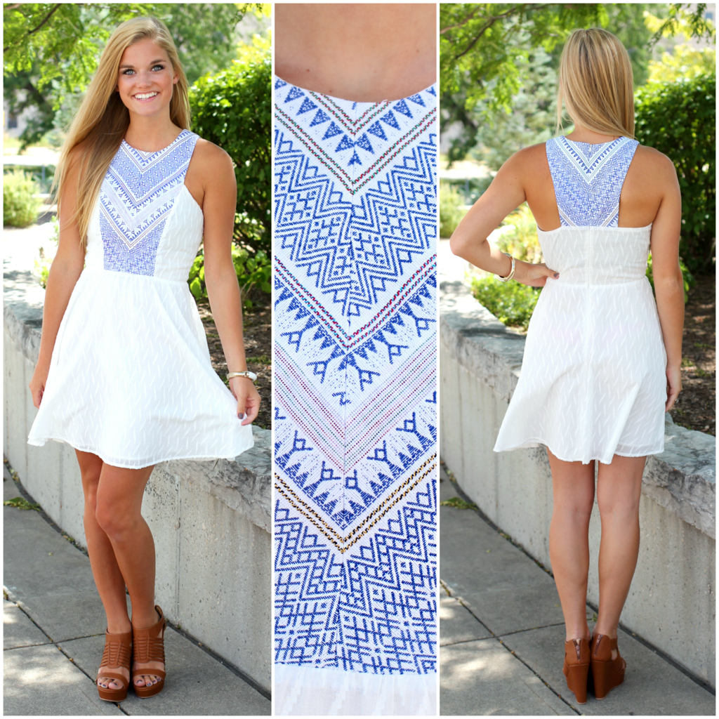 Tribal embroidered white dress uoionline women s