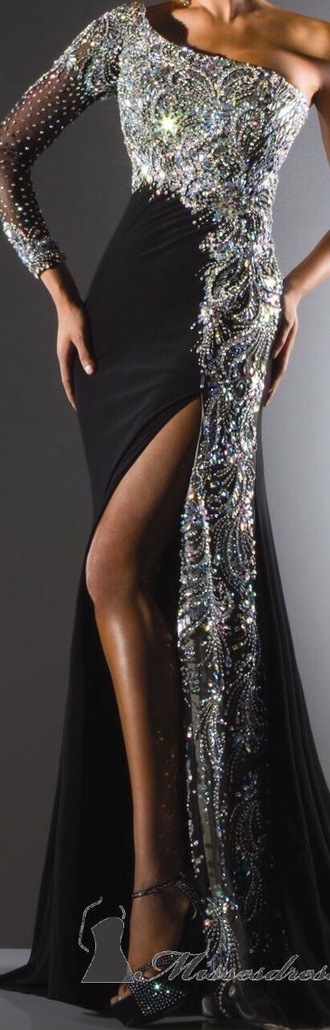 dress black dress silver dress one shoulder long sleeve dress long sleeves long dress mermaid prom dress
