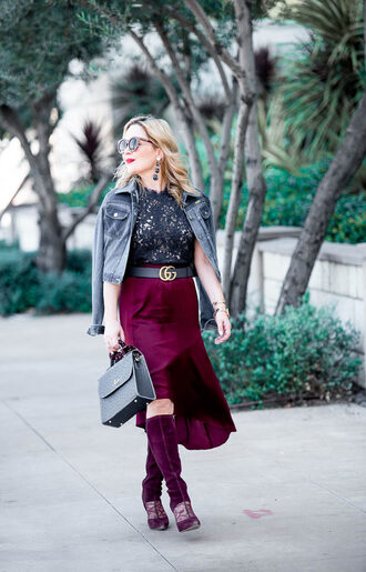 thehuntercollector blogger jacket top skirt belt shoes bag jewels fall outfits denim jacket gucci belt midi skirt boots