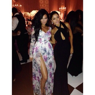 dress natalie halcro maxi dress floral dress slit dress