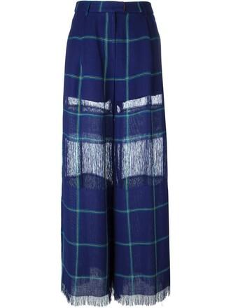 women blue pattern pants