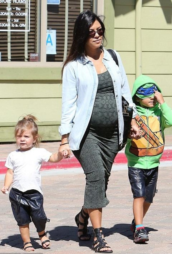 dress maxi dress maternity dress kourtney kardashian sandals gladiators denim shirt shoes maternity