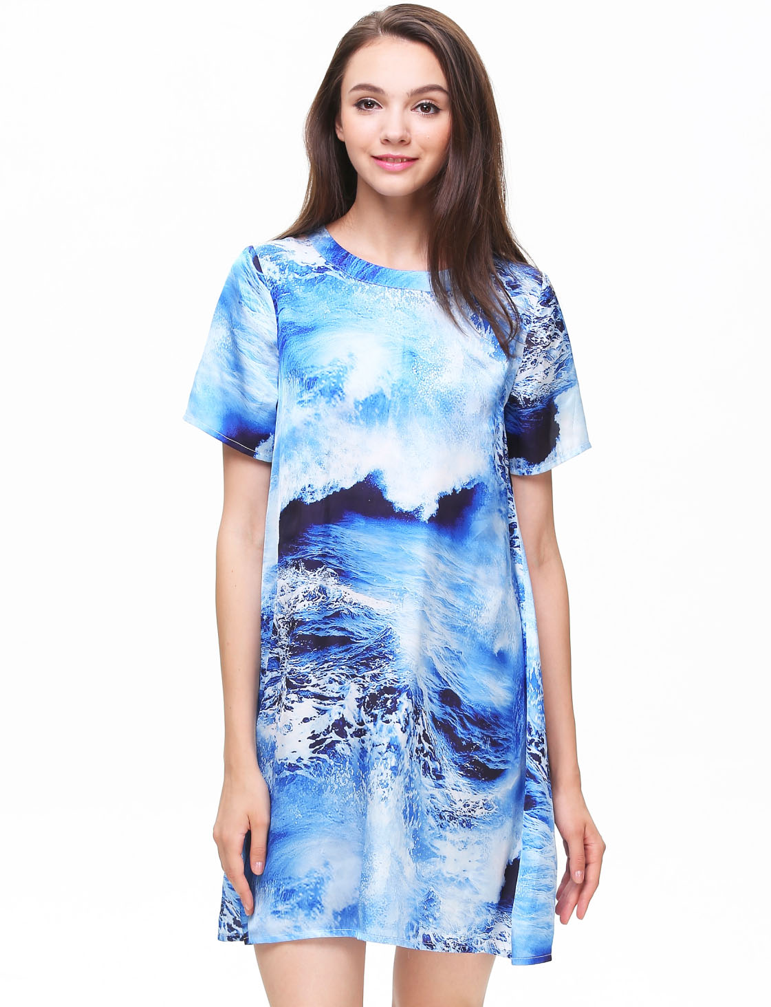 Blue Short Sleeve Sea Print Loose Dress - Sheinside.com
